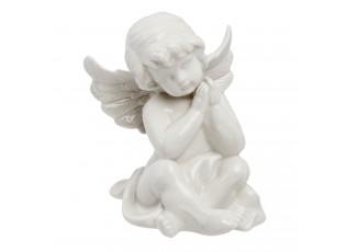 Bílá porcelánová postava Anděl - 13*11*14 cm