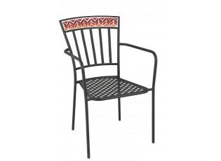 Kovová zahradní židle Square Mosaic Red - Ø53*57*85 cm