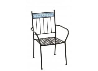 Kovová zahradní židle Mosaic Blue - Ø44*43*93 cm