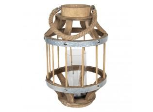 Hnědá dřevěná lucerna Renee - Ø 22*35 cm