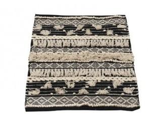 Černo-krémový kobereček Monochrome Boho s třásněmi - 60*90cm