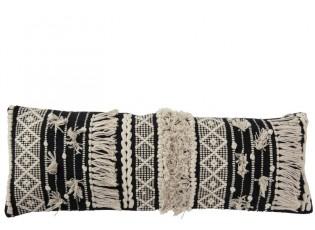 Černo-krémový polštář s výplní Monochrome Boho s třásněmi - 35*90cm