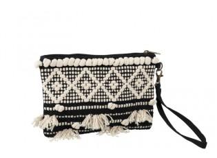 Černo-krémová kabelka do ruky Monochrome Boho s třásněmi - 25*17cm