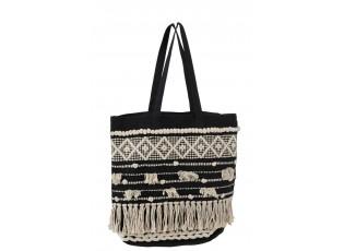 Černo-krémová kabelka Monochrome Boho s třásněmi - 40*45cm