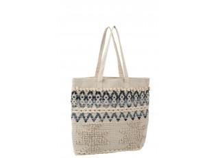Modro-krémová kabelka - taška Denim - 40*40cm