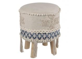 Modro-krémová stolička - podnožka Denim - 30*45cm