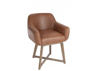 Hnědé kožené křeslo/ židle Venetta - 62*56*77 cm