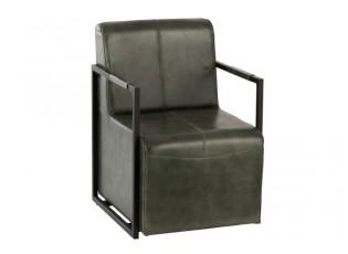 Zelené kožené křeslo/ židle Grony - 62*69*88 cm