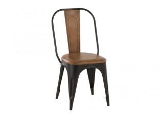 Černá kovová židle  Bistro s koženým sedákem - 48*54*93cm