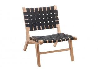 Dřevěná židle Etnic s černým výpletem - 57*77*73cm