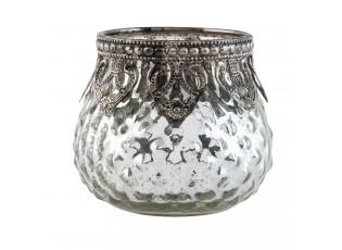 Stříbrný skleněný svícen - Ø 8*7 cm