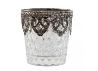 Stříbrný skleněný svícen - Ø 7*7 cm