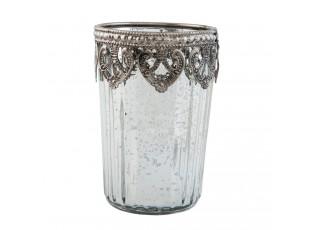 Stříbrný skleněný svícen - Ø 7*10 cm