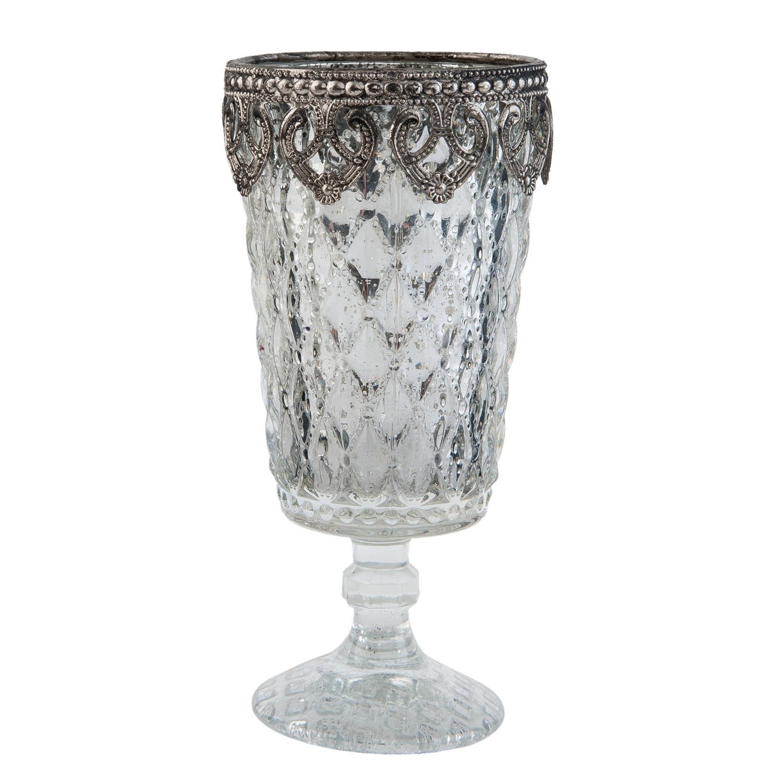 Stříbrný skleněný svícen na noze - Ø 8*16 cm