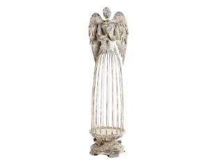 Šedý kovový Anděl ArtFerro na svíčku  - 12*12*49 cm