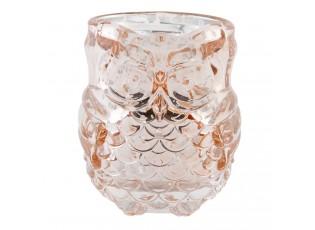 Růžový skleněný svícen Sovička - Ø 7*8 cm