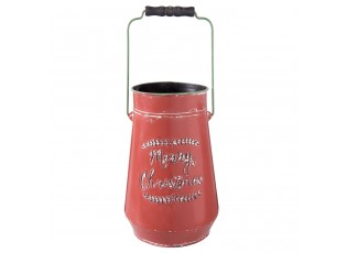 Dekorační červená retro konev Merry Christmas- Ø 19*30 cm / 5L