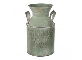 Zelená plechová konev Farmers market - Ø 17*29 cm / 4L