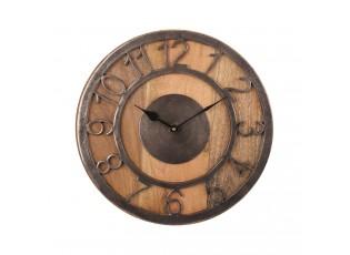 Dřevěné hodiny s kovovým ciferníkem Yves - Ø 33*3cm / 1xAA