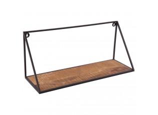 Nástěnná kovová dřevěná polička Scandinavian- 61*20*26cm