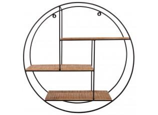 Nástěnná kovová dřevěná polička Scandinavian- Ø70*18