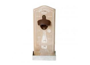 Dřevěný otvírák na láhve na zeď - 12*4*30 cm