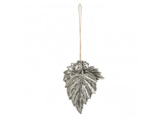 Závěsná dekorace stříbrný list - 8*1*10 cm