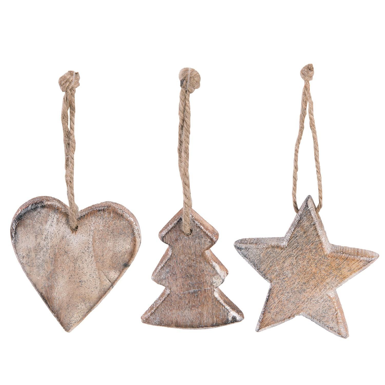 Vánoční ozdoby dřevěné srdce, stromek, hvězda - 23*9*3 cm