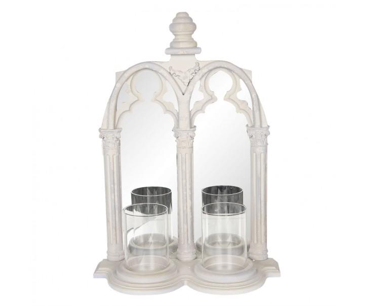 Nástěnné zrcadlové vintage okno se svícny -  38*16*53 cm