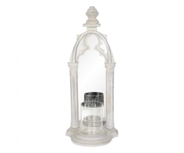 Nástěnné zrcadlové vintage okno se svícnem -   22*17*53 cm