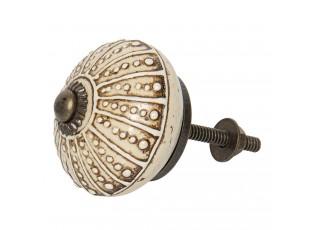 Krémová kulatá keramická úchytka s patinou - Ø 4 cm