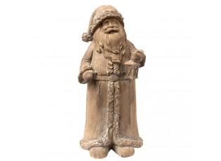 Hnědá dekorace Santa s lucernou - 11*9*24 cm
