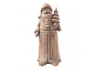 Hnědá dekorace Santa se stromkem - 8*7*18 cm