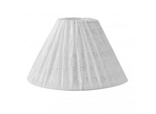 Bílé stínidlo s vyšívanými srdíčky  - Ø 30*18 cm / E27