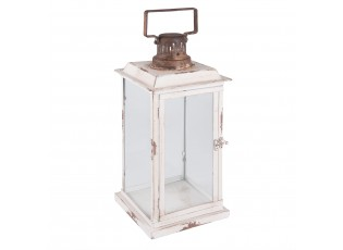 Bílá kovová lucerna Antik  - 19*19*43 cm