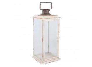 Bílá kovová lucerna Antik  - 24*24*56 cm