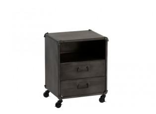 Černo-šedý noční stolek na kolečkách  - 44*34*56cm