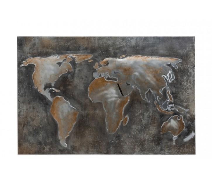 Nástěnná kovová dekorace/ obraz World - 120*3,5*90cm