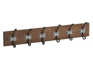 Hnědý dřevěný nástěnný věšák s kovovými háčky- 84*10*17cm