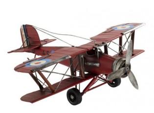 Kovový červený retro model letadla -35*30*13cm