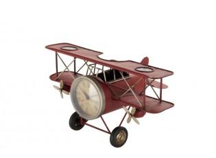 Kovový červený retro model letadla s hodinami -31*18*17cm