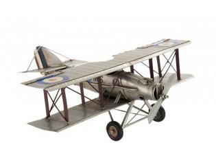 Kovový šedý retro model letadla -35*30*13cm