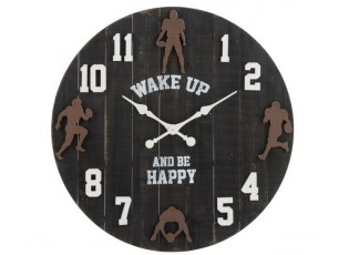 Černé dřevěné hodiny am football - Ø81,5*6cm