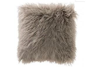 Šedý chluptý polštář s výplní  long hair -  45*45*16cm