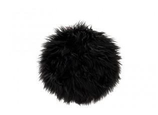Černý chlupatý kulatý podsedák na židli -  Ø38*6cm