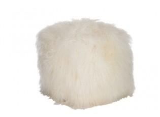 Bílý chlupatý puf s dlouhým chlupem Lambs -  57*57*42cm