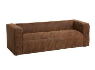 Hnědá 3-místná kožená pohovka Modern - 224*99*68 cm