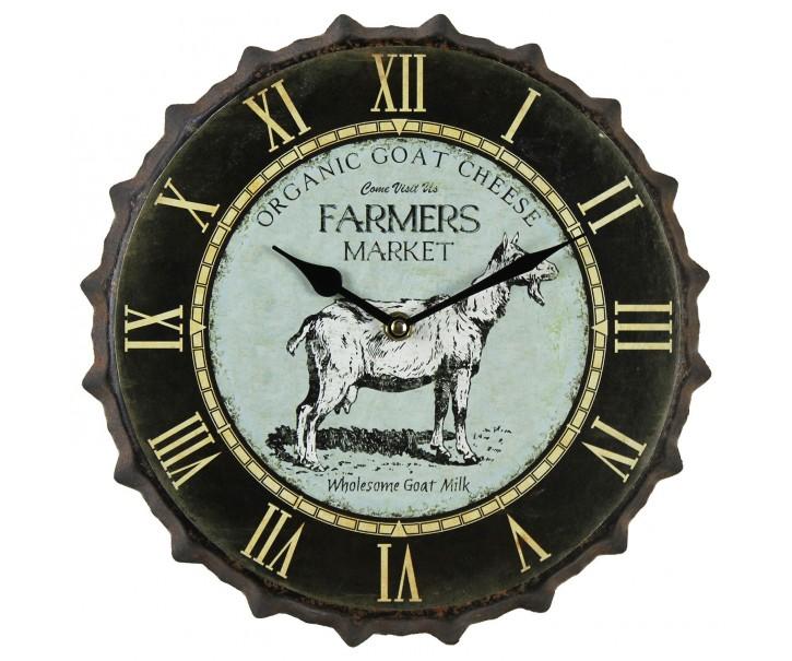 Kovové hodiny s kozou Farmers - Ø 30*4 cm / 1xAA