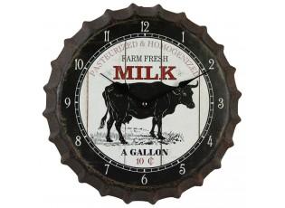 Kovové hodiny s krávou Farmers - Ø 35*4 cm / 1xAA