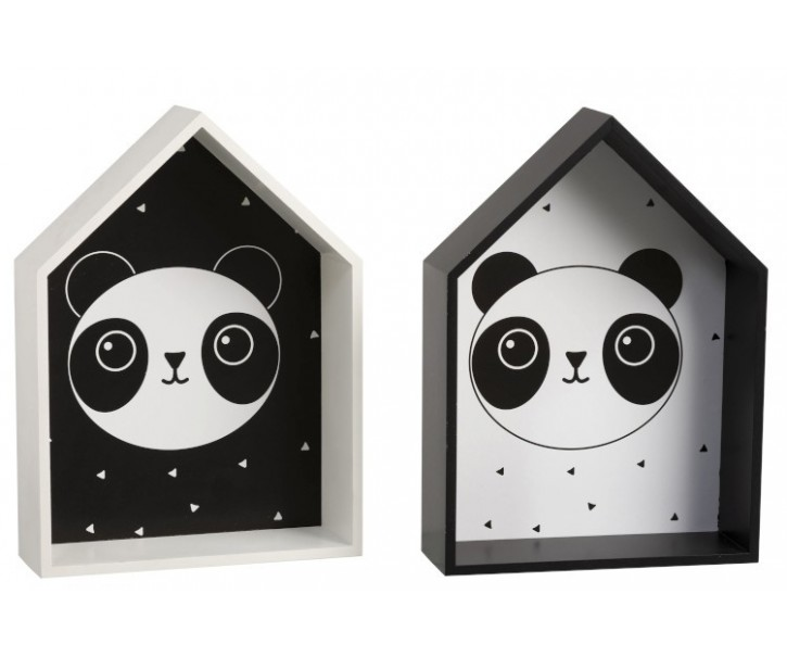 2 nástěnné poličky Panda - 24*8*33cm